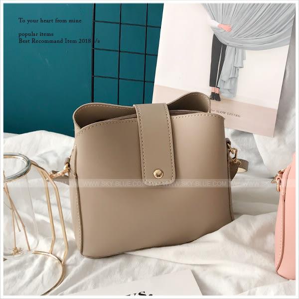 斜背包-簡約純色質感皮革小包/斜背包-共4色-A17172409-天藍小舖