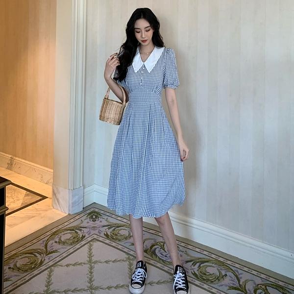 VK旗艦店 韓國風撞色領泡泡袖收腰修身氣質小格子V領短袖洋裝