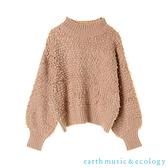 「Hot item」圈圈紗高領蓬袖針織上衣 - earth music&ecology