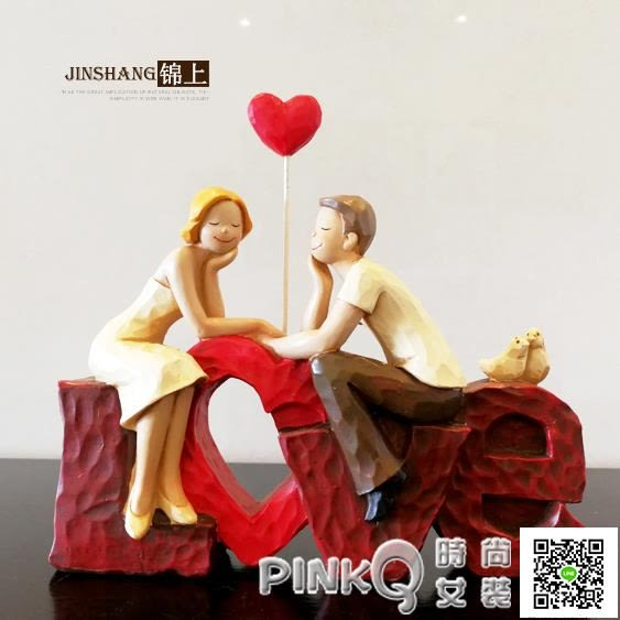 創意喜慶新郎新娘新房擺設 情侶LOVE擺件 家居飾品 結婚禮物禮品 【PINK Q】