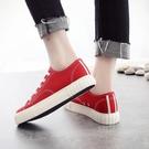 秋季新款透氣小白鞋女韓版百搭基礎平底紅色學生帆布鞋板鞋 雙12全館免運
