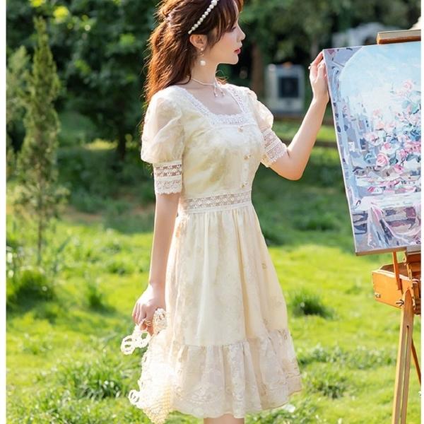 宮廷公主袖刺繡金線蕾絲約會洋裝[99216-QF]美之札