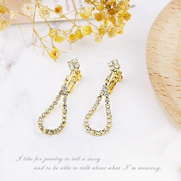 金色夾式耳環【櫻桃飾品】【30638】