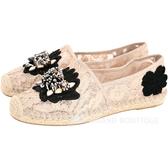 ASH Zaya Espadrille 蕾絲織花串珠飾草編鞋(裸粉色) 1720455-32