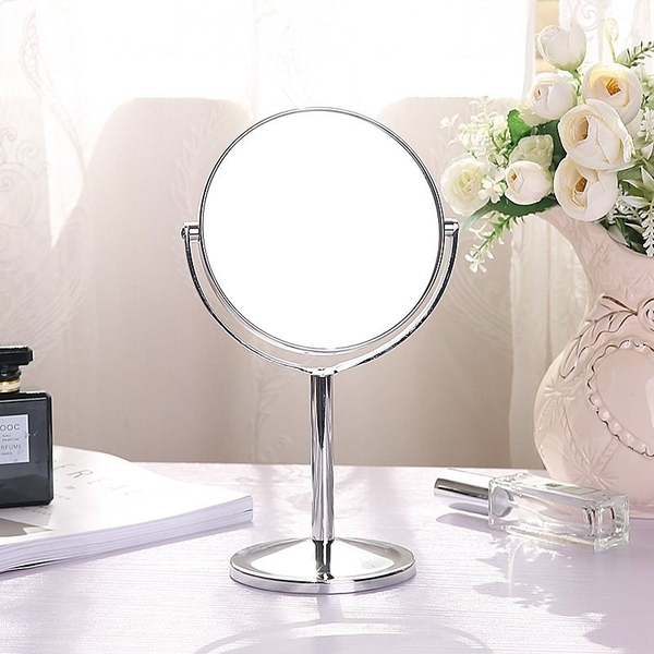 面桌鏡 妝公室放大鏡梳旋轉小鏡子辦鏡不鏽鋼高清雙台式寢室化妝