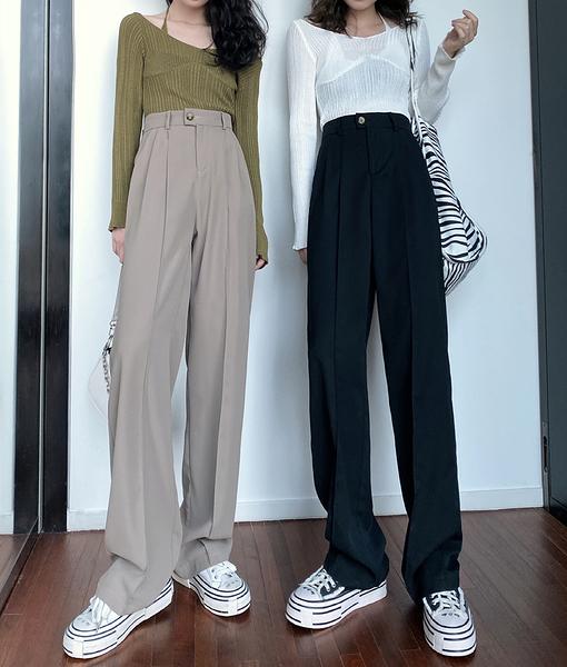 VK旗艦店 韓國風休閒寬口褲寬鬆收腰氣質單品長褲