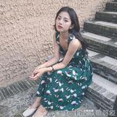 中長款吊帶裙女夏裝泰國海邊度假沙灘裙雪紡碎花甜美小清新連身裙歌莉婭