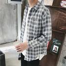 經典流行日系簡約格子造型百搭休閒長袖襯衫