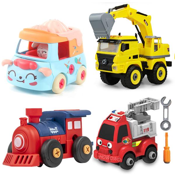 拆裝工程車 組裝 工程小車車 馬卡龍色 天竺鼠車車 拼裝 關節可動 怪手 迴力車 仿真 汽車玩具 2309