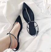 【黑色星期五】女夏新款一字扣帶尖頭正韓包頭淺口涼鞋