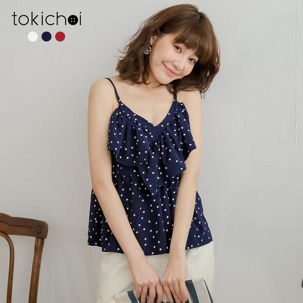 東京著衣-tokichoi-甜美復古圓點交錯荷葉領上衣(190483)
