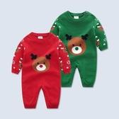 聖誕兒童服 男女兒童秋冬連體衣雙層針織1-3歲圣誕新年兒童衣服哈衣外出爬服