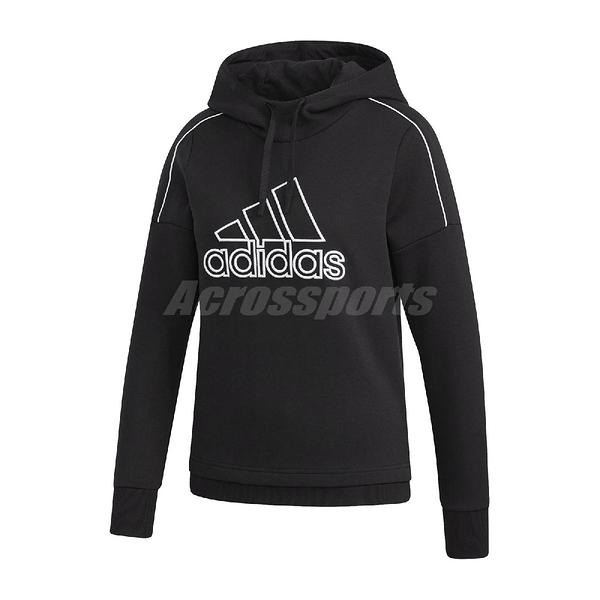 adidas 長袖T恤 Musthave Hood Sweatshirt 黑 粉 女款 帽T 運動休閒 【ACS】 GM1423