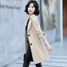 VK精品服飾 韓國風名媛大碼風衣外套配腰帶單品長袖上衣