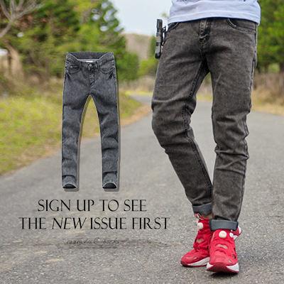 ∥柒零年代∥Sporty【N8456J】韓版個性穿搭簡約洗舊感中灰刷色直統牛仔褲(TJ-K06)