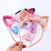 兒童公主女孩蕾絲發箍貓形可愛女童耳朵發卡搞怪演出仙女發箍頭箍