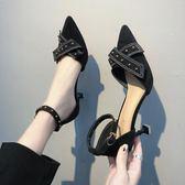 涼鞋女中低跟尖頭中空包頭高跟鞋百搭蝴蝶結鉚釘細跟單鞋女鞋 時尚潮流