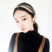 Qmigirl 韓版雙色拼接復古緞面交叉打結 頭飾 發箍 髮帶【QG019】