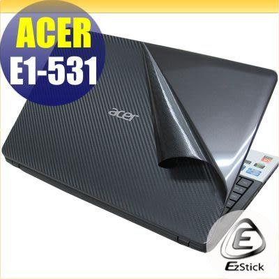 【EZstick】ACER Aspire E1-531 系列專用Carbon黑色立體紋機身貼(含上蓋、螢幕邊框、鍵盤週圍)DIY包膜
