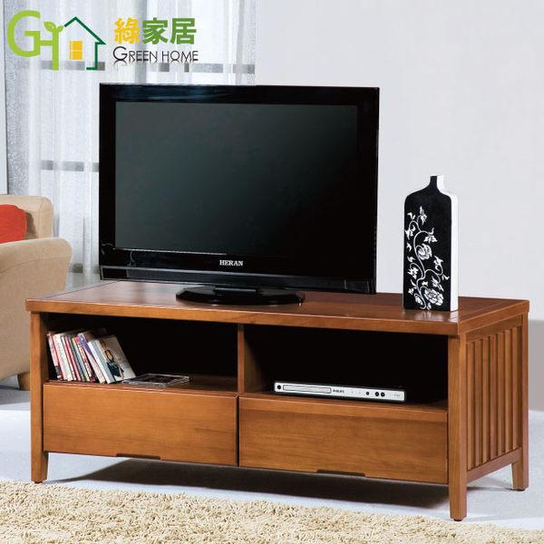 【綠家居】藍恩 柚木紋4尺實木電視櫃/視聽櫃