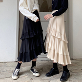 秋季2020新款韓版寬鬆荷葉邊不規則半身裙女高腰氣質中長款百褶裙