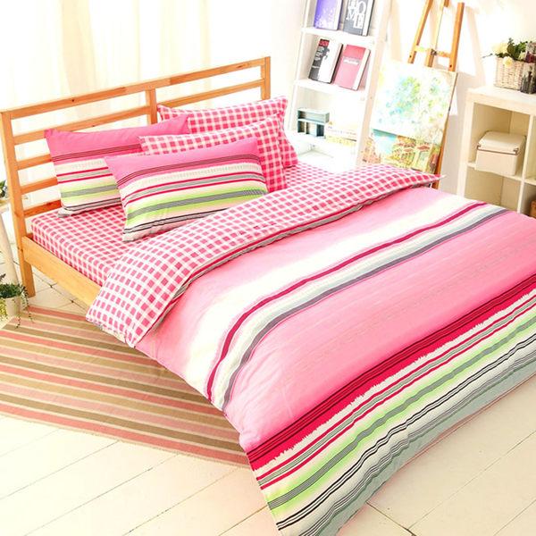 加大/兩用被床包組-四件式100%精梳純棉【FOCA-繽之粉彩】