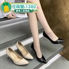 尖頭鞋.MIT法式優雅素面漆皮尖頭高跟包鞋.白鳥麗子
