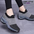 健走鞋-簡約飛織氣墊休閒鞋(36-42加大碼)
