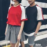 情侶裝夏裝寬鬆短袖T恤港仔文藝范學生班服 韓小姐