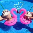 Qmigirl 海邊度假玩水必備 火烈鳥充氣飲料水上杯墊  泳圈【J313】