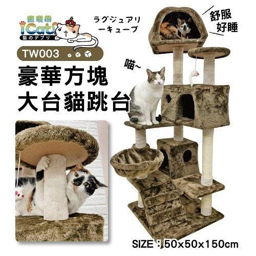 48H出貨*WANG*含運-日本寵喵樂 豪華方塊大台 貓跳台/貓爬窩/貓抓 TW003-咖啡色