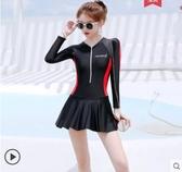 泳衣 游泳衣女短袖長袖連體新款ins風顯瘦遮肚溫泉保守泳裝網紅仙女范 寶貝計書