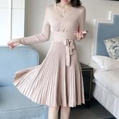 洋裝-長袖純色V領收腰針織女連身裙3色73pu76【巴黎精品】