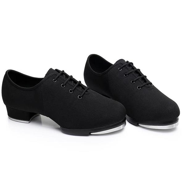 踢踏舞鞋男女兒童少兒款牛津布系帶新品兩點底軟底跳舞鞋