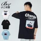 短T恤 MIT韓版捂臉女孩相片印花五分袖短袖上衣【NW621029】