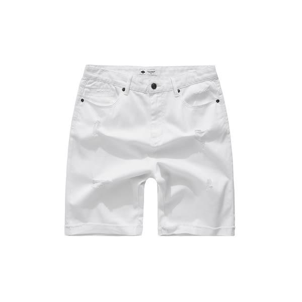CACO-斜紋刷破短褲-情侶款(三色)-男【SNC029】
