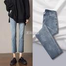 春裝新款牛仔褲女直筒寬鬆高腰學生復古九分...