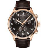 TISSOT天梭 韻馳系列 Chrono XL計時手錶-灰x玫塊金框/45mm T1166173605701