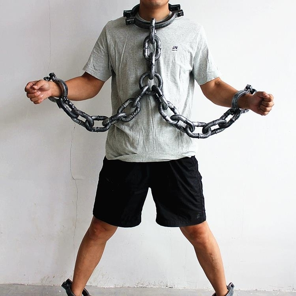 萬聖節道具 460g萬圣節表演道具塑料影視囚犯鐵鏈腳鐐手鐐鐵鏈手銬手鏈