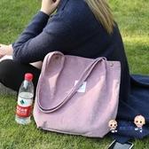 購物袋 帆布袋帆布包女單肩學生韓版原宿ulzzang慵懶風購物袋ins 側背包 6色