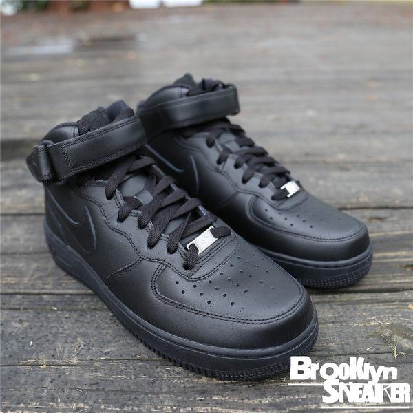 Nike AIR FORCE 全黑 高筒 黏帶 經典款 男 (布魯克林) 2017/11月 315123-001