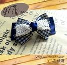 【YT店髮飾】藍色典雅蕾絲緞帶蝴蝶結髮夾/髮飾/頭飾/彈簧夾(G020)