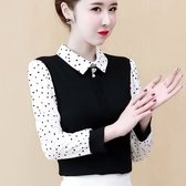 限時特購 女裝秋冬裝新款韓版娃娃領假兩件雪紡上衣波點時尚洋氣打底衫