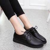 平底防滑軟底圓頭軟皮鞋上班工鞋平跟單鞋