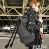旅行抽繩帆布束口包袋水桶籃球包士戶外運動訓練健身背包男後背包  雙十二全館免運