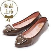★新品上市★【Fair Lady】我的旅行日記 典雅秋意框扣尖頭平底鞋  摩卡