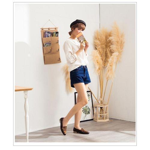 【ORiental TRaffic】動物紋拼接方頭踩腳便鞋-豹紋咖