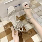 網紅高跟涼鞋女中跟夏季新款百搭水鑚露趾涼鞋  【快速出貨】