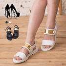 [Here Shoes]3色 經典雙一字皮革質感 金屬片亮點有型 魔鬼氈好穿拖 超低粗跟涼鞋 ◆MIT台灣製─ANW738