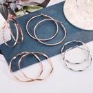 耳環 s925銀針耳圈耳環女金色韓版圓環夸張氣質大圈網紅潮時尚圈圈耳飾 晶彩 99免運